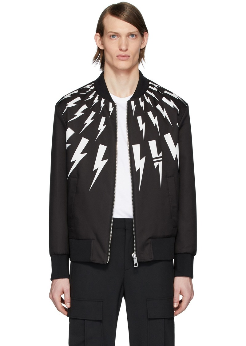 Neil Barrett Reversible Black Thunderbolt Bomber Jacket