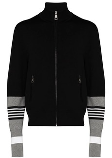 Neil Barrett striped sleeve zip-up cardigan