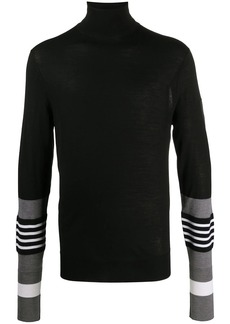 Neil Barrett striped sleeves turtle neck jumper