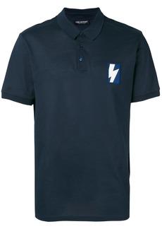 Neil Barrett thunderbolt patch polo shirt