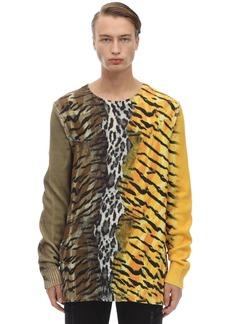 Neil Barrett Tiger & Leo Print Cotton Blend Sweater