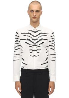 Neil Barrett Tiger Print Stretch Cotton Poplin Shirt