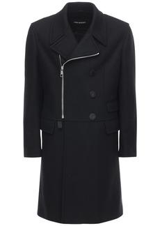 Neil Barrett Wool Blend Zip Coat W/ Leather Patches