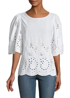 Neiman Marcus 1/2 Sleeve Eyelet Embroidered Blouse