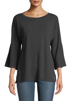 Neiman Marcus 3/4-Bell Sleeve Zip-Back Tunic