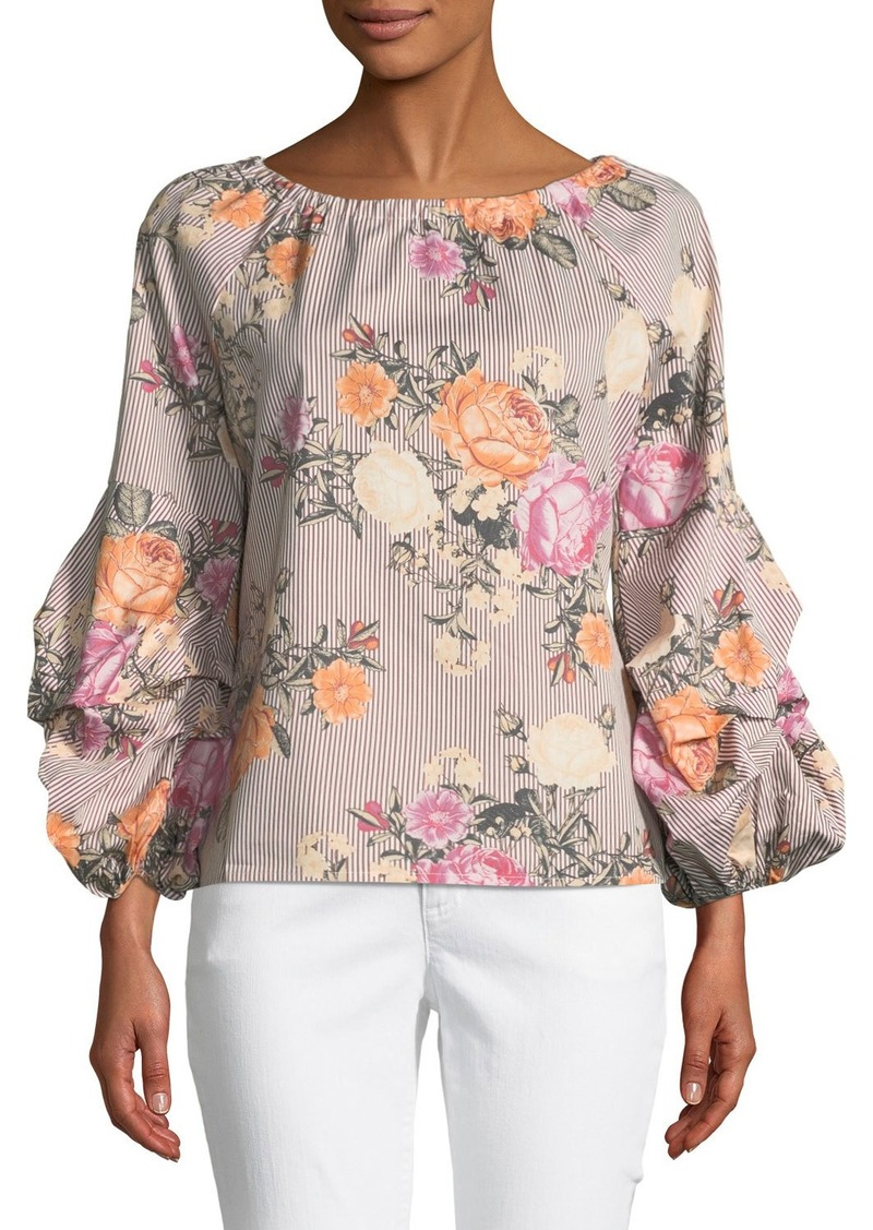 Neiman Marcus 34 Lantern Sleeve Striped Floral Blouse Casual Shirts