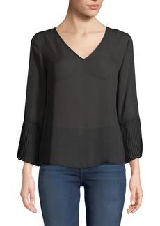 Neiman Marcus 3/4 Pleated-Sleeve Blouse