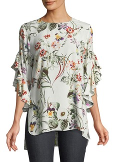 Neiman Marcus 3/4 Ruffle-Sleeve Floral Blouse