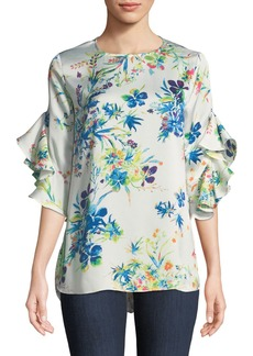 Neiman Marcus 3/4-Ruffled Sleeve Floral Blouse