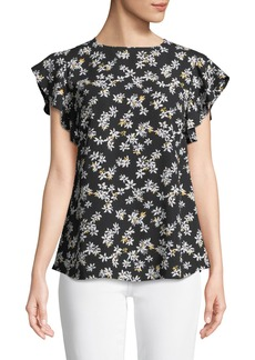 Neiman Marcus 3/4-Ruffled Sleeve Woven Floral Blouse