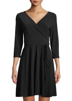 Neiman Marcus 3/4-Sleeve A-Line Wrap Dress