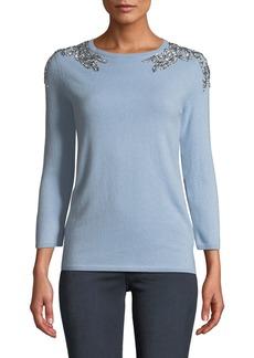 Neiman Marcus 3/4-Sleeve Embellished-Shoulder Cashmere Sweater