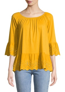 Neiman Marcus 3/4-Sleeve Eyelet-Embroidered Tee