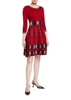 Neiman Marcus 3/4-Sleeve Knit Dress