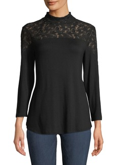 Neiman Marcus 3/4-Sleeve Lace-Yoke Mock-Neck Blouse