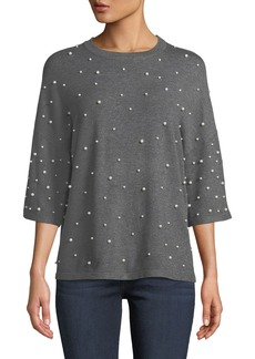 Neiman Marcus 3/4-Sleeve Pearly-Trimmed Sweater