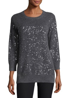 Neiman Marcus 3/4-Sleeve Sequin Cashmere Sweater