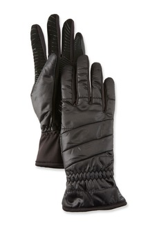 Neiman Marcus All-Weather Quilted Gloves w/ Faux-Fur Lining