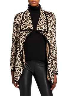 Neiman Marcus Animal-Print Draped Open Cardigan
