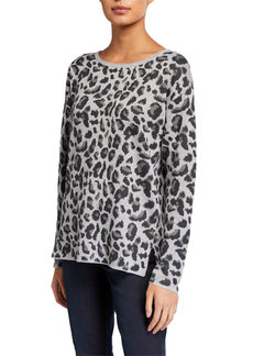 Neiman Marcus Animal-Print Jacquard Tunic Sweater
