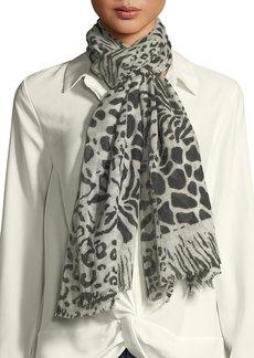 Neiman Marcus Animal Print Sheer Wool Scarf
