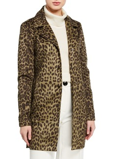 Neiman Marcus Animal-Print Suede Side Snap Coat