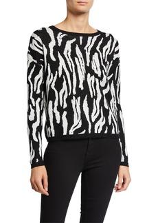 Neiman Marcus Animal-Print Sweater
