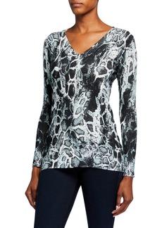 Neiman Marcus Animal-Print V-Neck Top