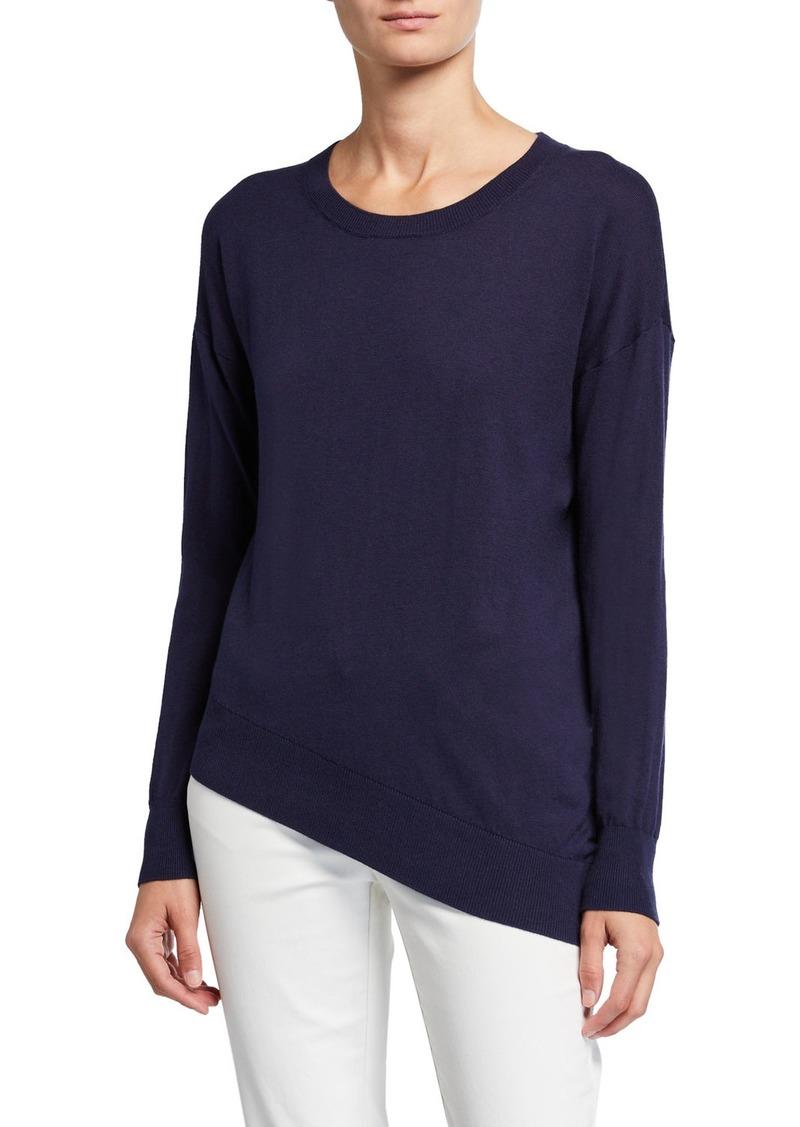 Neiman Marcus Asymmetric Cashmere-Blend Pullover