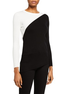 Neiman Marcus Asymmetric Colorblock Sweater