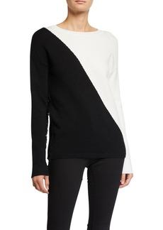 Neiman Marcus Asymmetric Fringe Sweater