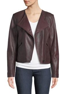 Neiman Marcus Asymmetric-Zip Lamb Leather Moto Jacket