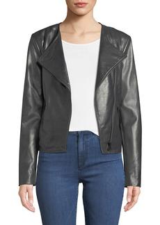 Neiman Marcus Asymmetric-Zip Leather Moto Jacket