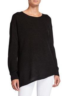 Neiman Marcus Asymmetrical Long-Sleeve Metallic Sweater