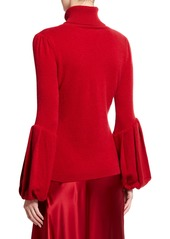Neiman Marcus Balloon-Cuff Cashmere Turtleneck Sweater