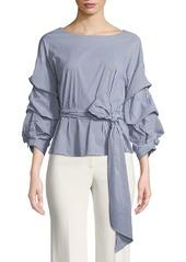 Neiman marcus balloon sleeve tie front blouse abvda5961eb a