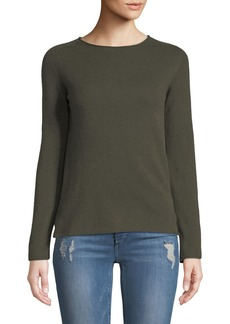 Neiman Marcus Basic Cashmere Crewneck Pullover Sweater  Green