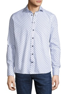 Neiman Marcus Basic-Fit Geometric Pattern Sport Shirt