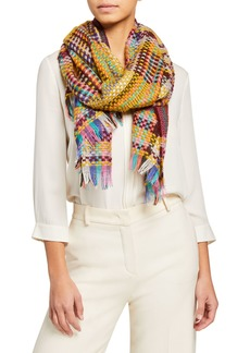Neiman Marcus Basketweave Knit Scarf