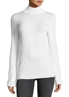 Neiman Marcus Beaded-Bell Sleeve Mock-Neck Sweater