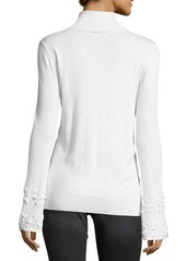 Neiman Marcus Beaded-Bell Sleeve Mock-Neck Sweater