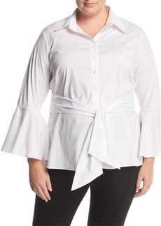 Neiman Marcus Bell-Sleeve Belted Blouse