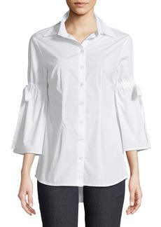 Neiman Marcus Bell-Sleeve Button-Front Blouse