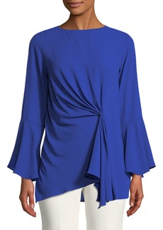 Neiman Marcus Bell-Sleeve Draped-Front Blouse