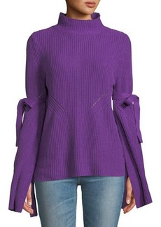Neiman Marcus Bell-Sleeve Mock-Neck Knit Sweater