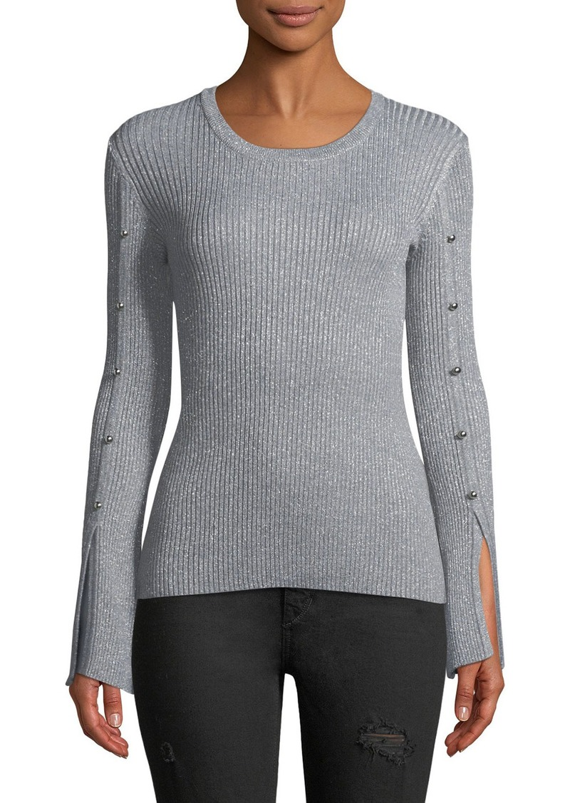 Neiman Marcus Bell Sleeve Shimmer Sweater Sweaters