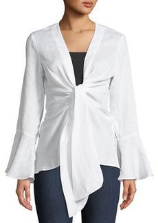Neiman Marcus Bell-Sleeve Tie-Front Linen Blouse