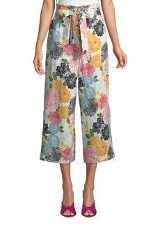 Belted Floral Culotte Pants