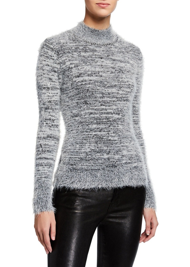 Neiman Marcus Bicolor Fuzzy Mock-Neck Sweater