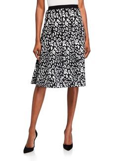 Neiman Marcus Birdseye Animal Jacquard Skirt